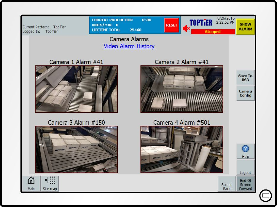 palletizer video monitoring