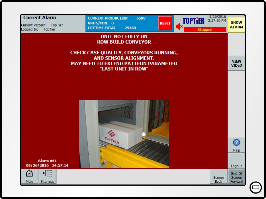 alert message from TopTier palletizer monitoring system