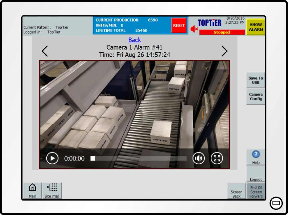 video of TopTier palletizer monitorizing system